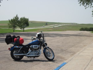 My bike with the open road behind it.