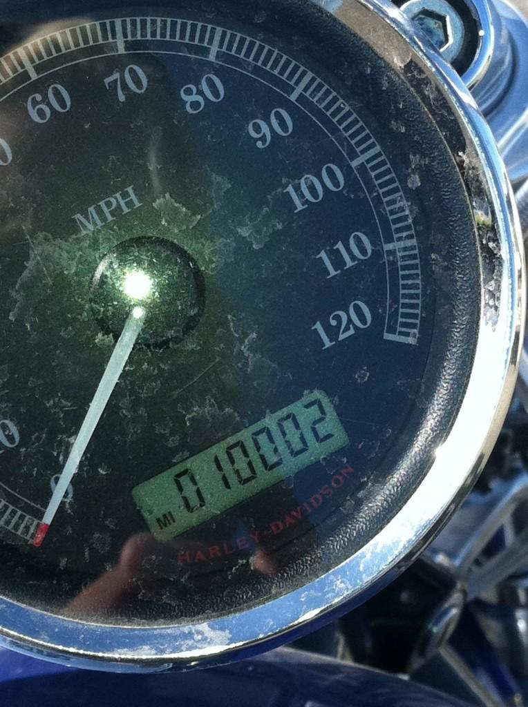 Odometer reading 10,002 miles