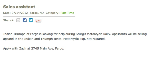 Ad for sales assistant job
